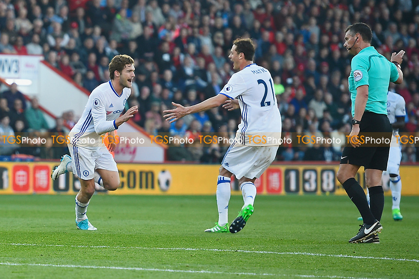 Marcos Alonso of Chelsea left celebrates scoring the third goal withNemanja Matic of Chelsea during AFC Bournemouth vs Chelsea, Premier League Football at the Vitality Stadium on 8th April 2017