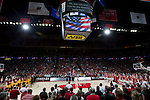 A general view of the Kohl Center during the National Anthem prior to the Wisconsin Badgers Big Ten Conference NCAA college basketball game against the Minnesota Golden Gophers on Tuesday, February 28, 2012 in Madison, Wisconsin. The Badgers won 52-45. (Photo by David Stluka)