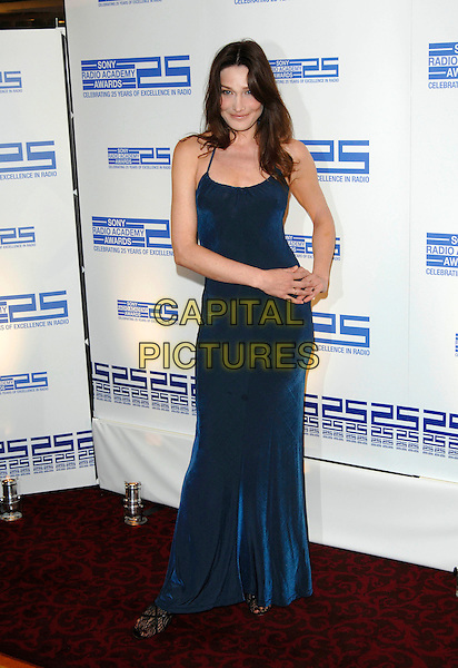CARLA BRUNI.Attending the Sony Radio Academy Awards,.Grosvenor House Hotel, .London, England, April 30th 2007..full length tight blue maxi dress.CAP/PL.©Phil Loftus/Capital Pictures