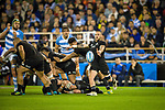 September 29, 2018. Jose Amalfitani, Buenos Aires, Argentina. TJ Perenara kicks the ball during the first half of the game.