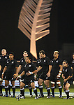 Haka. The All Blacks perform the haka before the international rugby match between the New Zealand All Blacks and South Africa at Jade Stadium, Christchurch, New Zealand. 14 July 2007. Photo: Marc Weakley