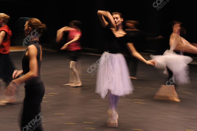 """Dancers rehearsed the ballet """"Lost Illusions"""" by Alexei Ratmansky, the former artistic director of the Bolshoi ballet, in a new rehearsal hall in the refurbished building of the historical Bolshoi theatre. Moscow, Russia, October 19, 2011"""