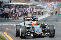 March 14, 2015: Nico Hulkenberg (DEU) #27 from the Sahara Force India F1 Team leaves the pits for practise three at the 2015 Australian Formula One Grand Prix at Albert Park, Melbourne, Australia. Photo Sydney Low