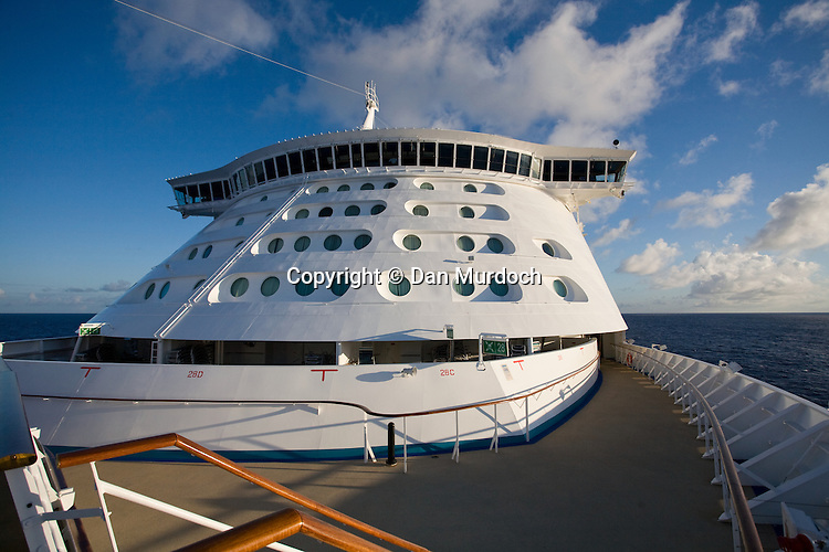 "Walking the decks of the Royal Caribbean cruise ship ""Explorer of the Seas"". Looking back at the bridge from the bow."