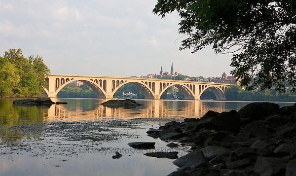 Key Bridge Georgetown from Roosevelt Island on the Potomac River Washington DC
