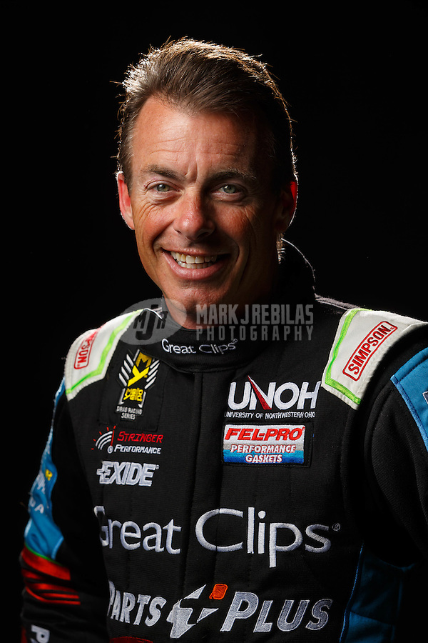 Feb 10, 2016; Pomona, CA, USA; NHRA top fuel driver Clay Millican poses for a portrait during media day at Auto Club Raceway at Pomona. Mandatory Credit: Mark J. Rebilas-USA TODAY Sports