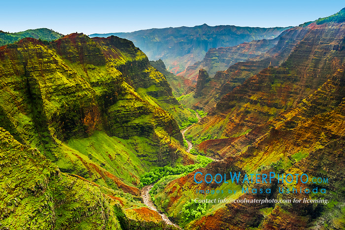 Waimea Canyon, the Grand Canyon of the Pacific, approximately one mile wide and ten miles long, more than 3,500 feet deep, Waimea Canyon State Park, Kauai, Hawai, USA