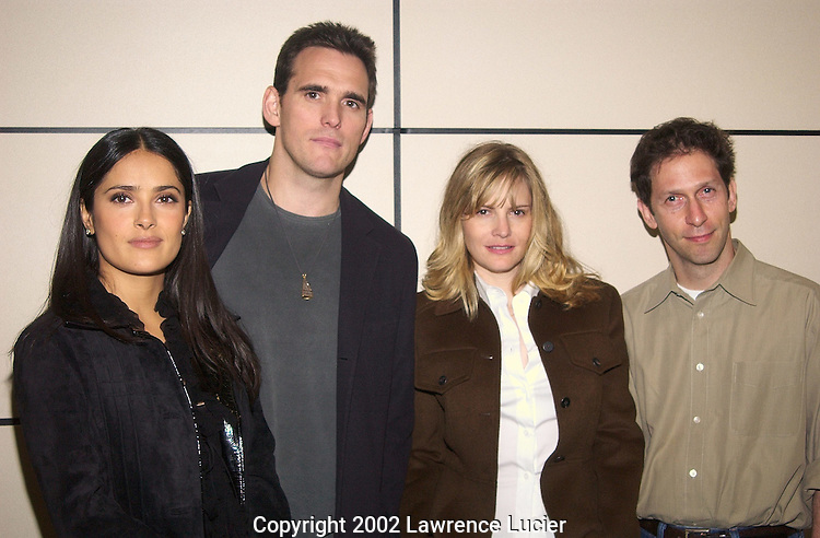 NEW YORK-SEPTEMBER 28: Actors Salma Hayek (L), Matt Dillon, Jennifer Jason Leigh, and Timothy Blake Nelson (R) appear at a panel discussion at the 2002 New Yorker Festival September 28, 2002, in New York City.