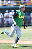 Nick Catalano #7 of the Oregon Ducks runs to first base during a game against the UCLA Bruins at Jackie Robinson Stadium on May 18, 2014 in Los Angeles, California. Oregon defeated UCLA, 5-4. (Larry Goren/Four Seam Images)