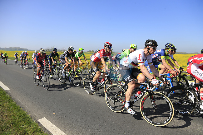 The peloton including Andre Greipel (GER) Lotto-Soudal in action near Noyon during the 115th edition of the Paris-Roubaix 2017 race running 257km Compiegne to Roubaix, France. 9th April 2017.<br /> Picture: Eoin Clarke | Cyclefile<br /> <br /> <br /> All photos usage must carry mandatory copyright credit (&copy; Cyclefile | Eoin Clarke)