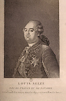 French Revolution:  Louis XVI, Portrait 1--stipple engraving, anonymous, after 1775 portrait by Joseph Boze.  Reference only.