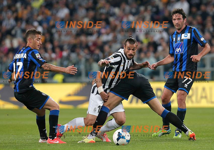 Pablo Osvaldo Juventus, Cristian Raimondi Carlos Carmona(L), Atalanta, Torino 5-5-2014, Juventus Stadium, Football Calcio 2013/2014 Serie A, Juventus - Atalanta, Foto Marco Bertorello/Insidefoto