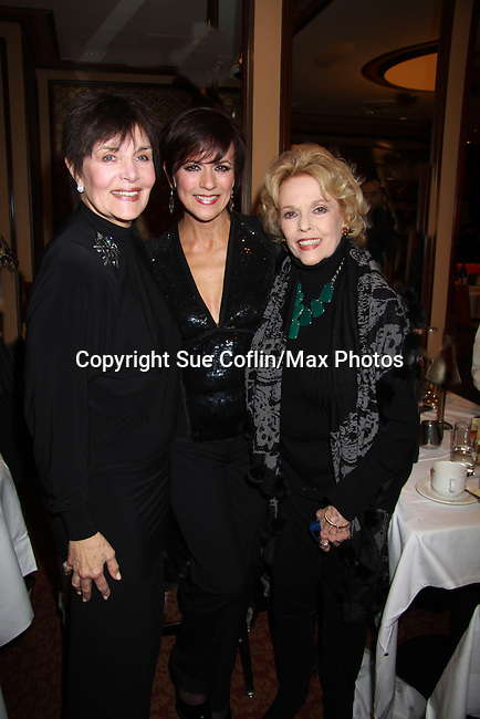 """Linda Dano and Eileen Fulton come to seeAs The World Turns Colleen Zenk as she stars in her one-woman cabaret show """"Colleen Zenk - Still Sassy"""" on October 30, 2011 at Feinstein's at Loews Regency, New York City, New York. They sang together and shared stories.  (Photo by Sue Coflin/Max Photos)"""