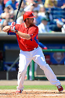 Philadelphia Phillies outfielder Darin Ruf #18 during a Spring Training game against the Dominican Republic at Bright House Field on March 5, 2013 in Clearwater, Florida.  The Dominican defeated Philadelphia 15-2.  (Mike Janes/Four Seam Images)