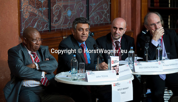 """Brussels-Belgium - June 21, 2012 -- """"Call to Europe II"""" - a conference held at the Bibliotheque Solvay by FEPS - Foundation for European Progressive Studies; here, Session 1, Willy Brandt table (from left to right): John Tesha, Secretary - General, Africa Forum, Pretoria; Ajay Kumar Bramdeo - Ambassador, Permanent Representative of the African Union to the EU; José Costa Pereira - Head of Division for Panafrican Affairs, EEAS; Philippe Darmuzey - Head of Unit, Africa-EU Partnership, DG DEVCO -- Photo © HorstWagner.eu"""