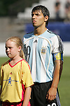 06 July 2007: Argentina's Sergio Aguero (10), pregame. Argentina's Under-20 Men's National Team defeated North Korea's Under-20 Men's National Team 1-0 in a Group E opening round match at Frank Clair Stadium in Ottawa, Ontario, Canada during the FIFA U-20 World Cup Canada 2007 tournament.
