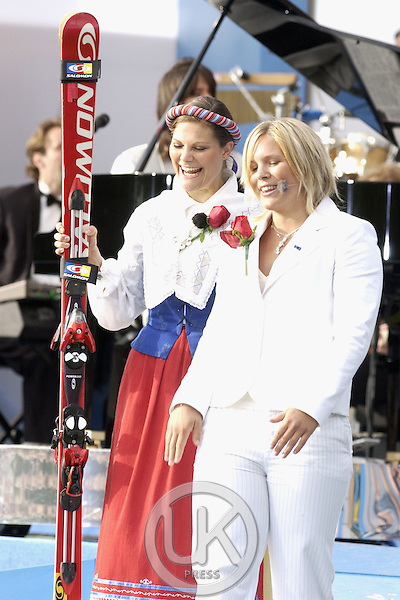 Crown Princess Victoria of Sweden celebrates her 27th birthday with a concert in Borgholm, accompanied by skier Anja Parson..