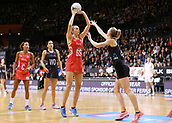 13th September 2017, Hamilton, New Zealand;  New Zealand captain Katrina Grant looks to block a shot from England shooter Jo Harten during the Taini Jamison Trophy international netball match - Silver Ferns versus  England played at Claudelands Arena, Hamilton, New Zealand on Wednesday 13 September 2017