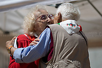 """Iole Mancini & Arnaldo """"Nando"""" Cavaterra (Antifascist Partizans. Members of the Partigiani: the Italian Resistance during WWII).<br /> <br /> Rome, 25/04/2018. Today, to mark the 73rd Anniversary of the Italian Liberation from nazi-fascism ('Liberazione'), ANED Roma & ANPI Roma (National Association of Italian Partizans) held a march ('Corteo') from Garbatella to Piazzale Ostiense where a rally took place attended by Partizans, Veterans and politicians – including the Mayor of Rome and the President of Lazio's Region. From the organisers Facebook page:<<For the 25th of April, the 73rd Anniversary of the Liberation of Italy from nazi-fascism, while facing new threats to the world peace, it is necessary to remember that the Fight for Liberation triggered the greatest, positive, 'break' of the whole modern age of the Italian history. The Fight for the Liberation was supported by a great solidarity of the people. The memory of those who in the partizan struggle, in the camps of imprisonment, internment or extermination, opposed - even until the sacrifice of life - the dictatorship, the greed of territorial conquests, crazy ideologies of race supremacy, constitutes concrete warning against any attempt to undermine the foundations of the free institutions born of the Resistance. Memory is not an instrument of hatred or revenge, but of unity in a spirit of harmony without discriminations...<br /> (For the full caption please read the PDF attached at the the beginning of this story).<br /> <br /> For more info please click here: https://bit.ly/2vOIfNf & https://bit.ly/2r4iJy3 & http://www.anpi.it<br /> <br /> For the Wikipedia's page of the 'Liberazione' please click here: https://en.wikipedia.org/wiki/Liberation_Day_(Italy)<br /> <br /> For a Video of the event by Radio Radicale please click here: https://www.radioradicale.it/scheda/539534/manifestazione-promossa-dallanpi-in-occasione-della-73a-festa-della-liberazione"""