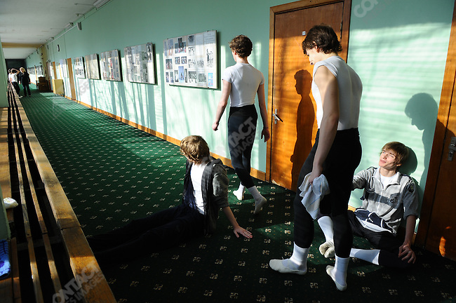 Students at the Moscow State Academy of Choreography, the main school feeding dancers to the Bolshoi Ballet and one of the top ballet schools in the world, waited in the corridors before a morning class. Moscow, Russia, March 10, 2010