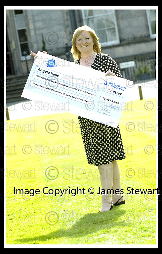 15/08/2007       Copyright Pic: James Stewart.File Name : sct_jspa16_lottery.ANGELA KELLY AT THE PRESS CONFERENCE WHERE SHE COLLECTED HER CHEQUE FOR £35,425,411.80 AFTER HER EUROMILLIONS LOTTERY WIN.....James Stewart Photo Agency 19 Carronlea Drive, Falkirk. FK2 8DN      Vat Reg No. 607 6932 25.Office     : +44 (0)1324 570906     .Mobile   : +44 (0)7721 416997.Fax         : +44 (0)1324 570906.E-mail  :  jim@jspa.co.uk.If you require further information then contact Jim Stewart on any of the numbers above........