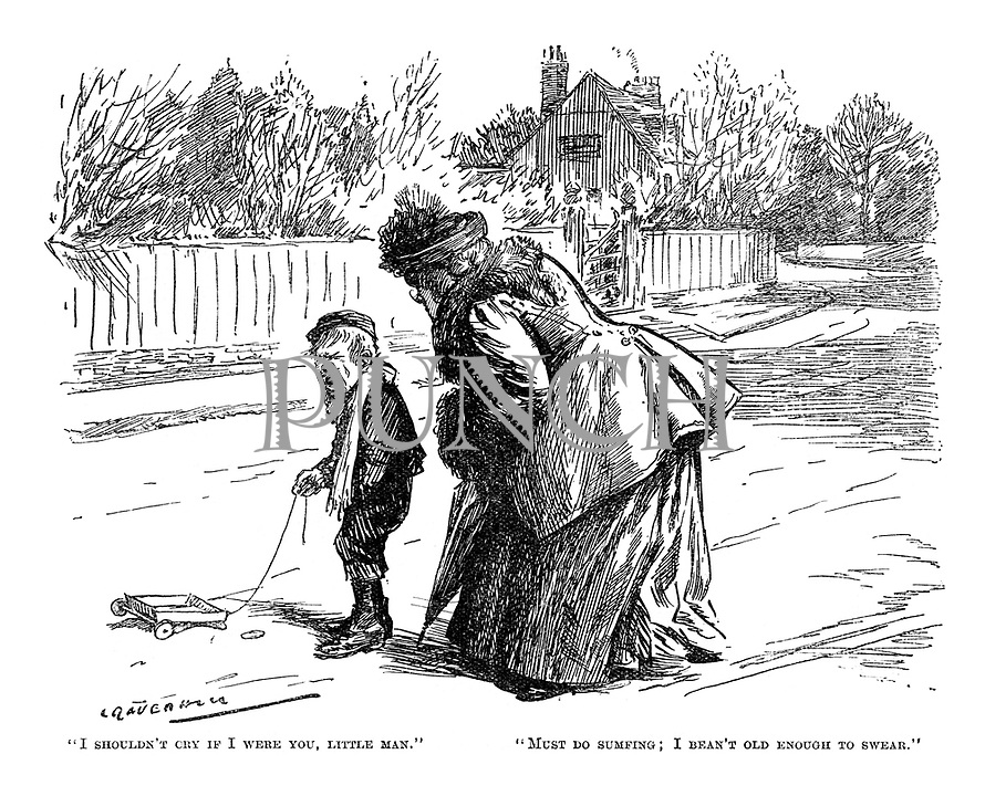 """""""I shouldn't cry if I were you, little man."""" """"Must do sumfing; I bean't old enough to swear."""" (an Edwardian street scene of a working class boy and middle class woman)"""