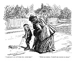 """I shouldn't cry if I were you, little man."" ""Must do sumfing; I bean't old enough to swear."" (an Edwardian street scene of a working class boy and middle class woman)"