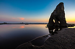 Olympic National Park, Washington: Sunset at Ruby Beach with seastack and tidal pool