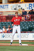 Erie SeaWolves first baseman Dominic Ficociello (25) during a game against the Richmond Flying Squirrels on May 27, 2016 at Jerry Uht Park in Erie, Pennsylvania.  Richmond defeated Erie 7-6.  (Mike Janes/Four Seam Images)