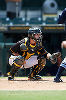 Bradenton Marauders catcher Jason Delay (5) during a game against the Charlotte Stone Crabs on June 3, 2018 at LECOM Park in Bradenton, Florida.  Charlotte defeated Bradenton 10-1.  (Mike Janes/Four Seam Images)
