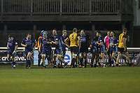 London Scottish players celebrate after scoring a try during the Championship Cup match between London Scottish Football Club and Ealing Trailfinders at Richmond Athletic Ground, Richmond, United Kingdom on 23 November 2018. Photo by David Horn/PRiME Media Images