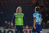 Wycombe Wanderers Manager Gareth Ainsworth smiles at goalscorer Scott Kashket of Wycombe Wanderers at the final whistle during the The Checkatrade Trophy match between Wycombe Wanderers and West Ham United U21 at Adams Park, High Wycombe, England on 4 October 2016. Photo by Andy Rowland.