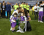 Sergio Ramos of Real Madrid and his family with the Champions League trophy during the Champions League Final match at the Millennium Stadium, Cardiff. Picture date: June 3rd, 2017.Picture credit should read: David Klein/Sportimage