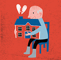 Elderly with broken heart holding on to house