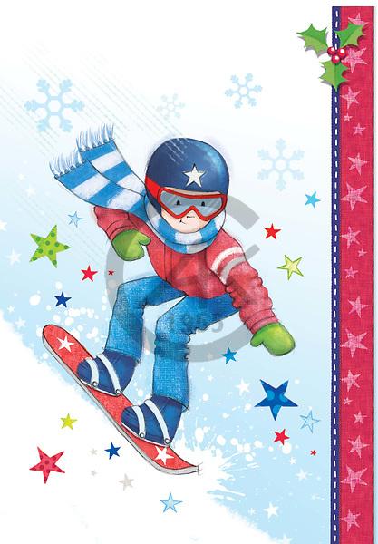 Sharon, CHRISTMAS CHILDREN, WEIHNACHTEN KINDER, NAVIDAD NIÑOS, GBSS,snowboarding, paintings+++++,GBSSC75XOJB,#XK#