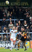 High Wycombe, England. Andy Goode of Worcester Warriors drop kicks a goal during the Aviva Premiership match between London Wasps and Worcester Warriors at Adam Park on October 7, 2012 in High Wycombe, England.