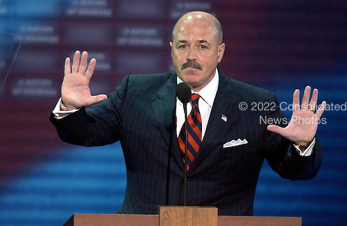 New York, NY - August  30, 2004 --  Bernard Kerik, former Police Commissioner, New York, New York, speaks in support of United States President George W. Bush at  the 2004 Republican National Convention in New York City..Credit: Ron Sachs / CNP  .(RESTRICTION: No New York Metro or other Newspapers within a 75 mile radius of New York City)