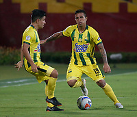 BUCARAMANGA-COLOMBIA,4 -08-2018.Harold Gómez (Der.) y Sherman Cárdenas (Izq)jugadores del Atlético Bucaramanga.Acción de juego entre los equipos Atlético Bucaramanga y Equidad durante partido por la fecha 3 de la Liga Águila II 2018 jugado en el estadio Alfonso López de la ciudad de Bucaramanga./Harold Gomez (R) and Sherman Cardenas (L) players of Atletico Bucaramanga .Action game between Atletico Bucaramanga and Equidad during the match for the date 3 of the Aguila League II 2018 played at Alfonso Lopez  stadium in Bucaramanga city. Photo: VizzorImage/ Oscar Martínez / Contribuidor