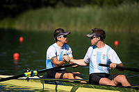 """Lucerne, SWITZERLAND, 12th July 2018, Friday,""""ARG M2-"""",  before the """"start"""" of theit """"heat in the Men's Pair"""",  """"Start Area"""", FISA World Cup series, No.3, Lake Rotsee, Lucerne, © Peter SPURRIER,"""