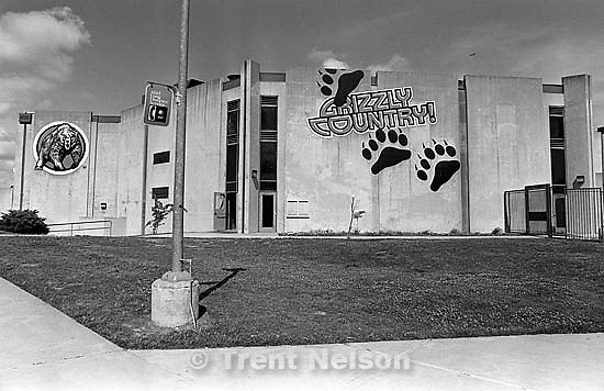 &quot;Grizzly Country!&quot; Gym from outside at California High School.<br />