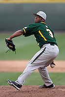 Trae Davis #3 of the Baylor Bears pitches against the UCLA Bruins at Jackie Robinson Stadium on February 25, 2012 in Los Angeles,California. UCLA defeated Baylor 9-3.(Larry Goren/Four Seam Images)