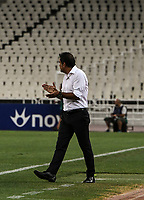 Trabzonspor 's head coach Ünal Karaman reacts during of the UEFA Europa League play-off, 1st leg, soccer match between AEK Athens FC and Trabzonspor at the OAKA Spyros Louis Stadium in Athens, Greece on August 22, 2019.