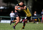 Ciarahn Matoe of King's is tackled during the pre-season 1st XV rugby match between Kings College and Scots College of Australia. Kings College, Auckland, New Zealand. Saturday 9th April 2016. Photo: Simon Watts/www.bwmedia.co.nz