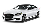 2018 Genesis G80 Sport 4 Door Sedan angular front stock photos of front three quarter view