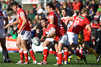 PICTURE BY ALEX WHITEHEAD/SWPIX.COM - Rugby League - Autumn International Series - Wales vs England - Glyndwr University Racecourse Stadium, Wrexham, Wales - 27/10/12 - Wales' Matty Seamark passes the ball.