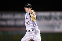 Kannapolis Intimidators relief pitcher Matt Ball (23) in action against the Hagerstown Suns at Kannapolis Intimidators Stadium on May 6, 2016 in Kannapolis, North Carolina.  The Intimidators defeated the Suns 5-3.  (Brian Westerholt/Four Seam Images)