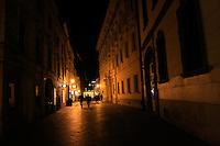 Night shot of street in Old Town Bratislava.