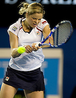 Kim Clijsters (BEL) against Valerie Tetreault (CAN) in the First Round of the Ladies Singles. Clijsters beat Tetreault 6-0 6-4..International Tennis - Australian Open Tennis - Mon 18 Jan 2010 - Melbourne Park - Melbourne - Australia ..© Frey - AMN Images, 1st Floor, Barry House, 20-22 Worple Road, London, SW19 4DH.Tel - +44 20 8947 0100.mfrey@advantagemedianet.com