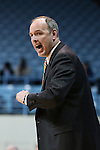 23 March 2014: UT Martin head coach Kevin McMillan. The University of North Carolina Tar Heels played the University of Tennessee Martin Skyhaws in an NCAA Division I Women's Basketball Tournament First Round game at Cameron Indoor Stadium in Durham, North Carolina. UNC won the game 60-58.
