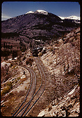 Excursion train on Monarch switchbacks.<br /> D&amp;RGW  Monarch Switchbacks, CO